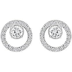 Swarovski Boucles d'oreilles Creativity Circle, petit, blanc, métal rhodié