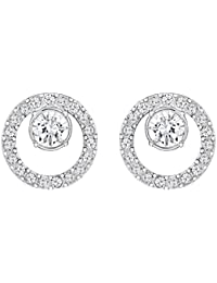 Swarovski Women's Rhodium Plating and White Crystal Creativity Circle Pierced Earrings