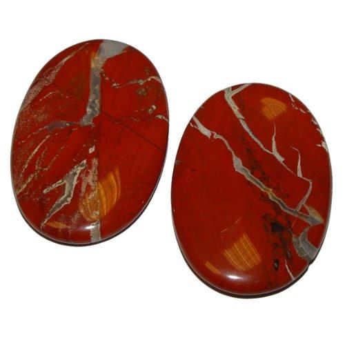 1 Stück Jaspis rot Daumen Schlaf Stein flacher XL Handschmeichler mit Mulde Größe ca. 40 x 60 x 10 mm.(2489)