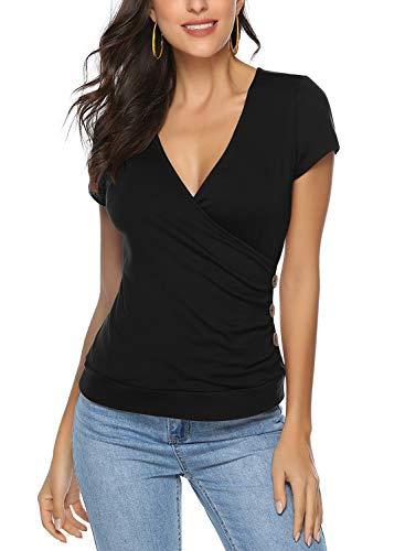 Ehpow Damen T-Shirt Sommer V-Ausschnitt Kurzarm Shirts Oberteile Cross Wrap T-Shirt Tops (X-Large, Schwarz)