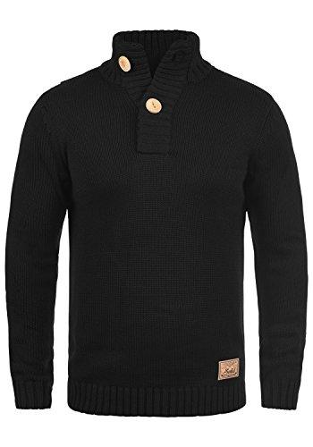 SOLID Peter Herren Strickpullover Grobstrick Pulli Troyer mit Stehkragen aus hochwertiger Baumwollmischung Black (9000)