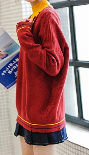 JOTHIN Collo V strappati Maglieria Slim Fit Pullover Manica lunga Sweater Eleganti vintage Maglioni Donna Rosso