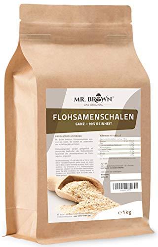 Mr. Brown Flohsamenschalen natur 1000 g | 99 {2f051f21b56f49c380f43ff1b6565adaf383beeb3e83a96978be344234bca0f6} Reinheit | Premium Qualität | Ursprung: Indien | pflanzliches Quellmittel | abgefüllt in Bayern - aktuell zum Einführungspreis !!!