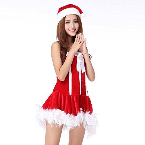 Fxwj Damen Weihnachtsfrau Kostüm Kleid Outfit erotische Unterwäsche Rolle spielen Uniformen (Und Kostüme 1 2 Ding Ding Sexy)