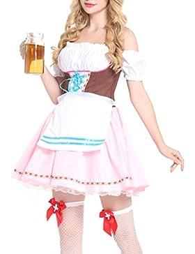 Lover-Beauty 3tlg. Dirndl-Set, Kleid mit Bluse und Schürze, Oktoberfest Trachtenkleid Set verschiedene Farben
