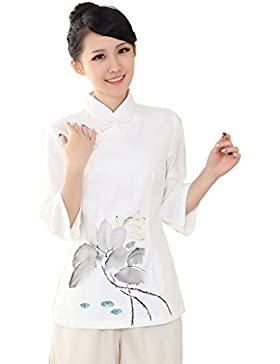 YueLian Mujeres Elegante Manga 3/4 Patrón de Loto Ropa China Blusa de Lino Camisa Camiseta Tops Blanco