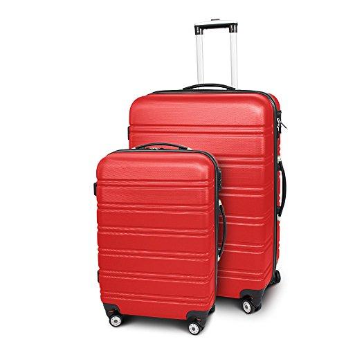 Kofferset L + XL 2-teilig Reisekoffer Trolley Hartschalenkoffer ABS Teleskopgriff Modell Line (Rot)
