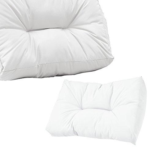 [en.casa] Palettensofa - 3-Sitzer mit Kissen - (weiß) komplettes Set inkl. Arm- und Rückenlehne - 6