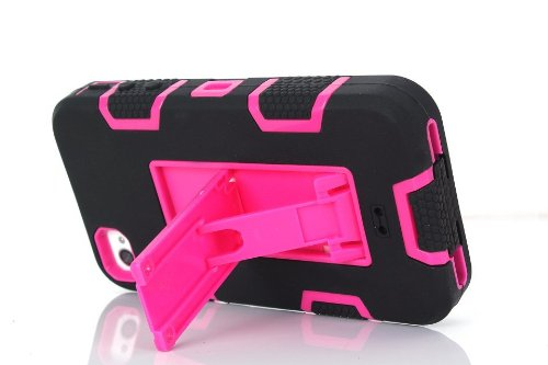 iPhone 4 Fall, iPhone 4S Fall, Lantier Leistungsstarker Schutz [3 In1 Color Mix Design], Hybrid-Fest weichen haltbaren Stoßdämpfer-Kasten-Rüstungs-Kasten rückseitige Cover Case mit Ständer für Apple i Black-Blue