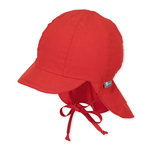 Sterntaler Schirmmütze mit Bindebändern und Nackenschutz, Alter: 6-9 Monate, Größe: 45, Rot - Rote Baby Mütze