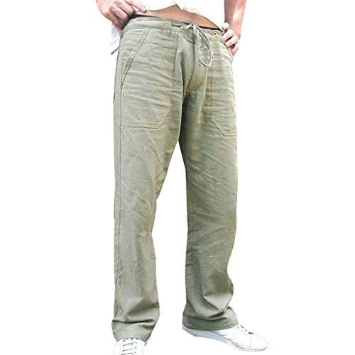 Aoogo Herren Hose Leisure Pants Herren Relaxed Hose,Herren Leinen Hose mit großen Taschen Männer die gedruckte Overall-beiläufige Taschensport-Arbeits-beiläufige Hosen spleißen (Hardy Geldbörse Ed)