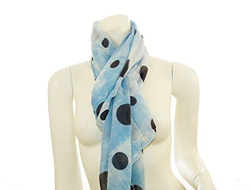 Écharpe écharpe foulard pour femme xXL motif pois polka dots bandana motif batik Bleu - Bleu