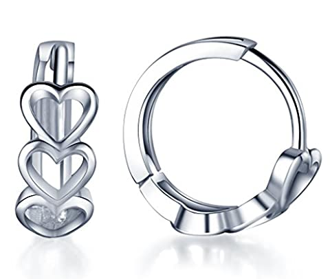 Infinite U 925 Sterling Silver Hollow Cluster Love Heart Hoop Earrings for Women/Girls (with Gift