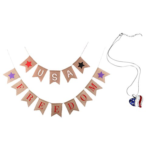 F Fityle US Unabhängigkeitstag Amerika Flaggen Herz Halskette Und Leinwand Girlanden Dekor
