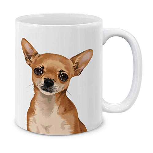 MUGBREW Kaffeetasse/Teetasse aus Keramik, Sibirischer Husky, 325 ml Cute Fawn Apple Head Chihuahua Full Portrait -