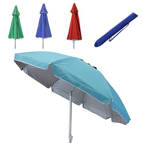 Ombrellone spiaggia con antivento palo in alluminio Ø 2,2 m per campeggio spiaggia mare piscina giardino