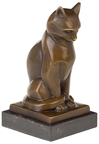 aubaho Bronzeskulptur Katze Bronze Figur Statue Bronzefigur Skulptur im Antik-Stil 18cm