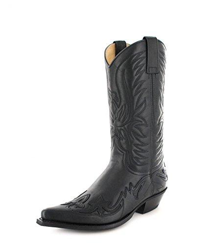 Fashion Boots BU1005 Inter Negro Westernstiefel für Damen und Herren Schwarz Cowboystiefel, Groesse:35