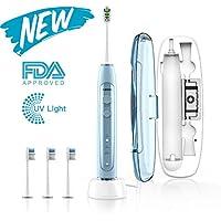 ABOX Cepillo de dientes eléctrico, cepillo de dientes sónico con 4 modos,3 cabezales de recambio y estuche de.
