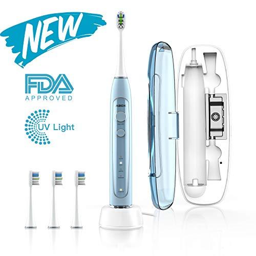 ABOX Cepillo de dientes eléctrico, cepillo de dientes sónico con 4 modos,3 cabezales de recambio y estuche de viaje recargable con UV Esterilizador,Carga Inductivo y Cable USB, IPX7 impermeable