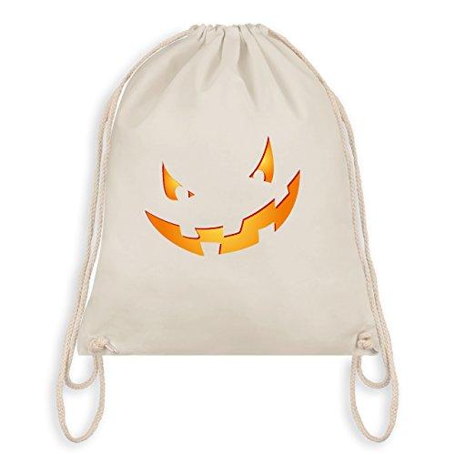 Halloween - Kürbisgesicht klein Pumpkin - Unisize - Naturweiß - WM110 - Angesagter Turnbeutel / Gym Bag