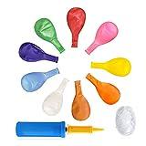 Ruizsh 100 Stück 12 Zoll Luftballon mit Hand Ballonpumpe und Ballonseil,Luftballons bunt Geeignet für alle Arten von Geburtstag Party Dekorationen,Graduierung,Geburtstage, Brautgeschenke, Baby-Duschen, Valentinstag