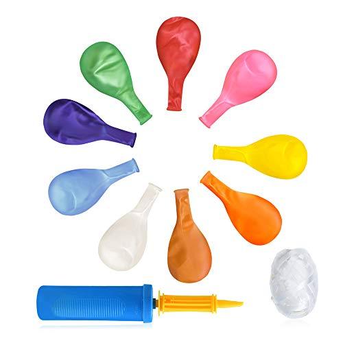 Ruizsh 100 Stück 12 Zoll Luftballon mit Hand Ballonpumpe und Ballonseil,Latex Ballone bunt Geeignet für alle Arten von Geburtstag Party Dekorationen,Graduierung,Geburtstage, Brautgeschenke, Baby-Dusch