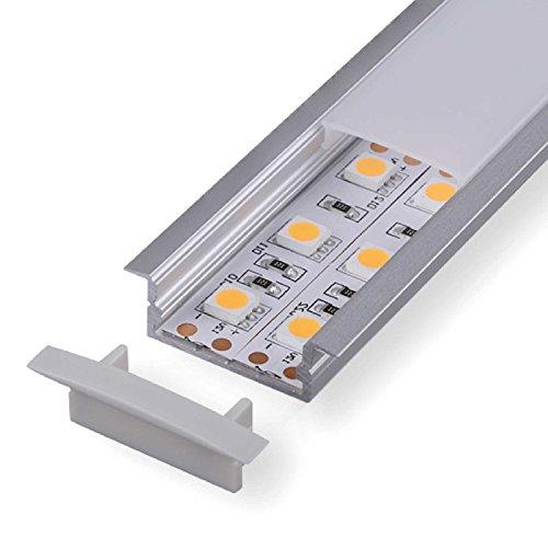 2m Aluprofil DURA (DU) 2 Meter Aluminium Profil-Leiste eloxiert für LED Streifen - Set inkl Abdeckung-Schiene milchig-weiß (opal) mit Montage-Klammern und Endkappen (2 Meter michig click)