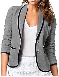 6b02a0e519887 Femme Blazer à Manches Longues, Élégant Solide Couleur Slim Fit Veste de  Costume avec Bouton