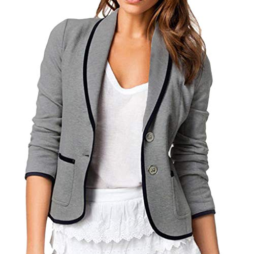Woman Long Sleeve Blazer, Fashion Solid Color Slim Suit Jacket with Pockets Women Casual OL Office Business Work Coat Short Outwear Top Plus Size