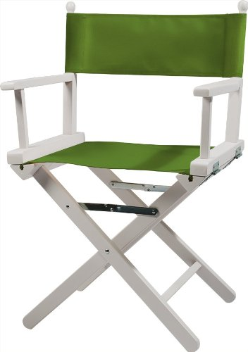 Moonich Regiestuhl Alfred, Holzfarbe: weiß, Stofffarbe: hellgrün, schwarzer Aufdruck