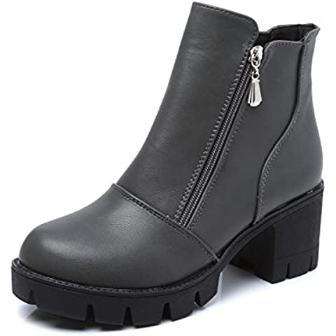 Viento de otoño de gruesas raíces plataforma tacón Inglaterra mujeres corto botas zapatos mujer botas lado cremallera Martin botas mujeres , gray ,