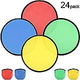 Conjunto de Juguete de Bolsillo Plegable de 24 Piezas Disco Volador Plegable con Bolsa Favores de Fiesta de Cumpleaños de Diversión Juego de Actividades al Aire Libre de Verano, 4 Colores