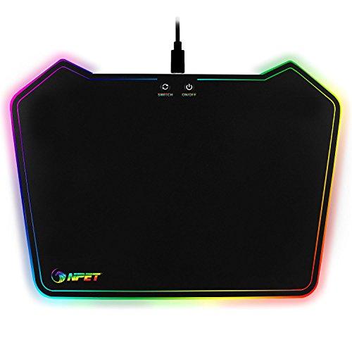 NPET Tapis de Souris Gaming RGB Rigide Rétroéclairage 10 Couleurs Réglable pour PC / Ordinateur portable / Ordinateur - Noir