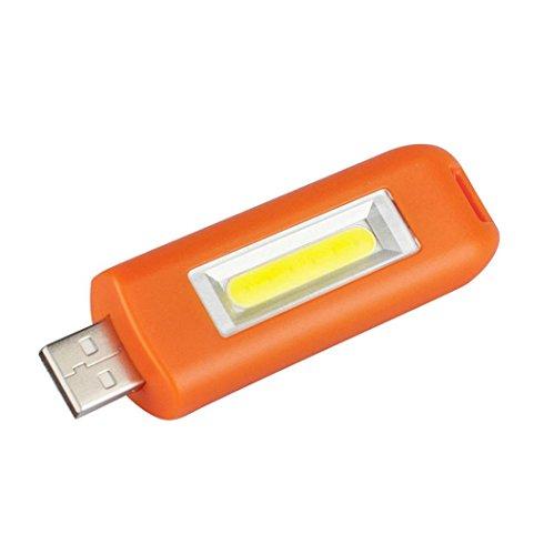 Mini USB wiederaufladbar Taschenlampe , Siswong COB Taschenlicht 3 Modus Schlüsselanhänger Draussen Tragbar Reise Flashlights (Orange)