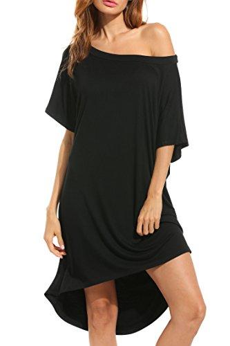 HOTOUCH Damen Schulterfrei Strickkleid Kurzarm Shirtkleid Knielang Locker Casaul Kleider