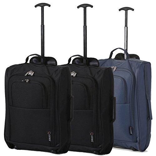 Lot de 3 Super léger de voyage bagages Cabine Valise Wheely Sacs Sac à Roulettes (2 x Noir / Marine)