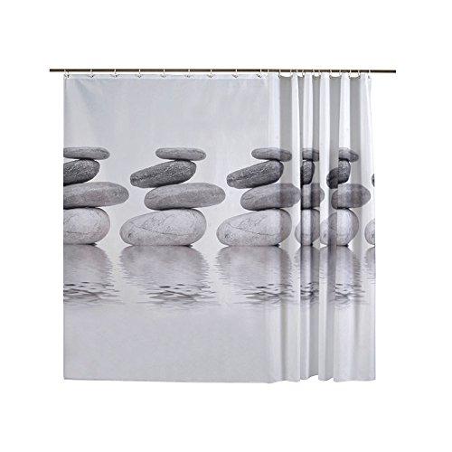 MAVIE Tenda da Doccia, Moderno 180 x 200 cm Tenda Della Vasca da Bagno Modello di Pietra Impermeabile Tenda per Doccia Antimuffa Vasca Tenda del Bagno con 12 Anelli