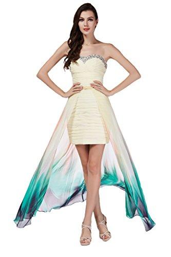 Sunvary Festlich herzform Chiffon Hi-Lo Paillette Cocktailkleid Partykleid Schleppe Farbig