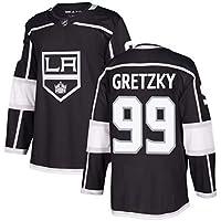 Gretzky # 99 Kings Hockey sobre Hielo Jersey de Manga Larga para Hombres Hockey sobre Hielo Ropa Deportiva Equipo de competición Uniforme de Entrenamiento Fan Jersey Real Jersey Negro S-XXXL-M