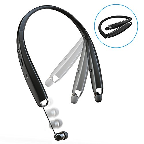 Comsoon Bluetooth Kopfhörer in Ear Kopfhörer mit Neckenband [12 Stunden Spielzeit] Noise Cancelling Bluetooth Ohrhörer mit Mikrofon, Spritzfeste Sport Kopfhörer Faltbares Design mit Ausziehbaren Earbuds (Schwarz)
