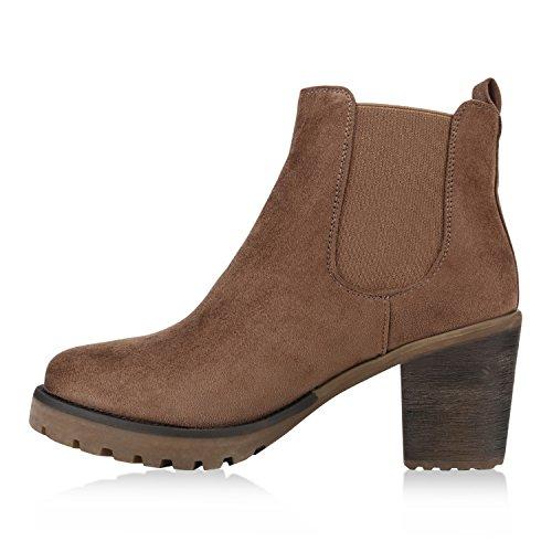 Stiefelparadies Damen Stiefeletten Wildleder-Optik Glitzer Chelsea Boots Animal Prints Profilsohle Knöchelhohe Stiefel Flandell Khaki Agueda
