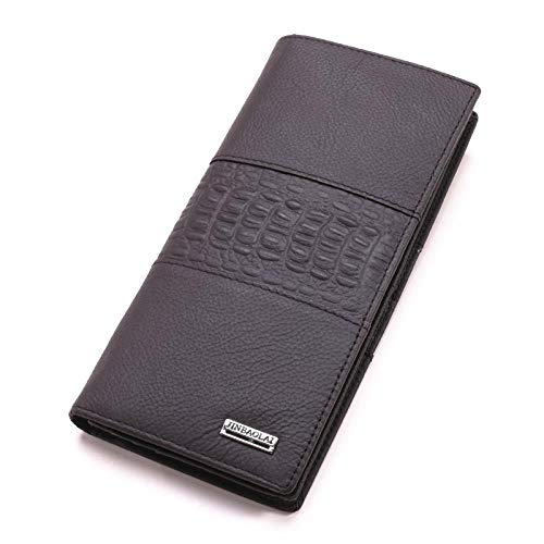 Brieftasche Crocodile Embossed Herren Clutch Echtes Leder Nähte Design Herren Und Damen Geschenk Id Kreditkarteninhaber, Kaffee -