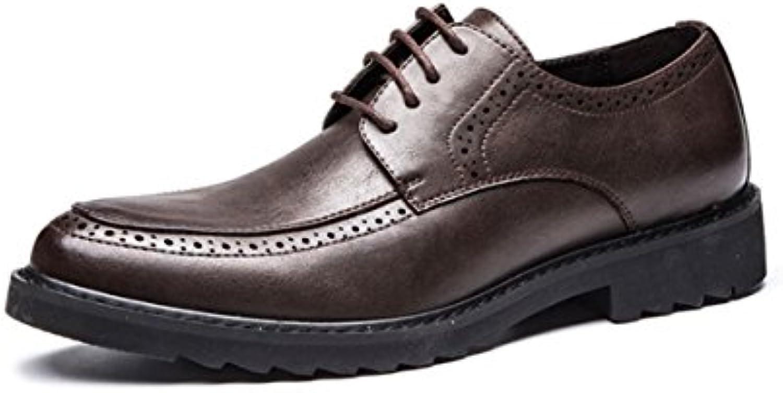 LYZGF Zapatos De Cuero De Encaje De Moda De Moda Juvenil De Primavera Y Verano para Hombres,Brown-43  -
