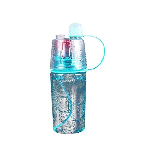Spray Mist Wasserflasche, Gusspower Mist Sprayer für Outdoor Sport Hydration und Abkühlung Wasser Trinkflasche, Protable Auslaufsicher Sport Spray Drückflasche (Blau 400ml)