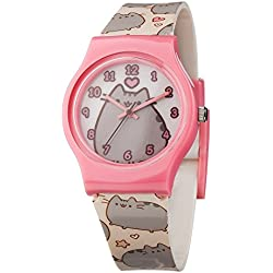 Pusheen Girl's Quartz Watch with Multicolour Dial Analogue Display and Multicolour Plastic Strap PUSH44