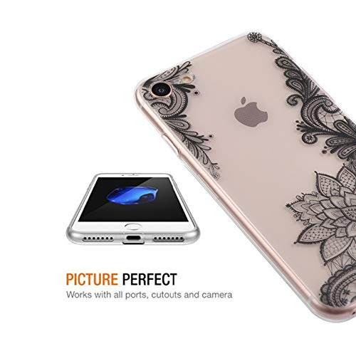 BOOSSONGKANG Handyhülle Blumenspitze für iPhone 8 7 6 6 s 5 5 s SE Coque Mandala Floral Clear Silikon Soft Cover für iPhone X Fall, für iPhone 7 Soft-attache