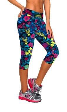 Fliegend Leggings Mujer Impresión Pantalones de Yoga 3/4 Cintura Alta Malla Push Up Fitness Leggins Elásticas Pantalones Deportivos
