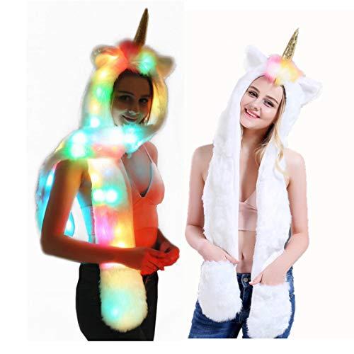 About Beauty Rave Party Kleidung Faux Pelz Hut Schal Handschuhe Light Up Mittens 3-In-3-Funktion Furry Hoodie Blinkenden Steuerung LED-Licht (Light Kleidung Up)