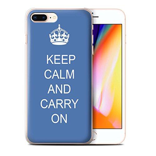Stuff4 Hülle / Case für Apple iPhone 8 Plus / Schnurrbart/Braun Muster / Bleib Ruhig Kollektion Mach Weiter/Blau